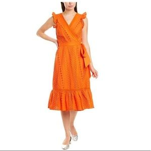 Orange J Crew eyelet midi wrap dress